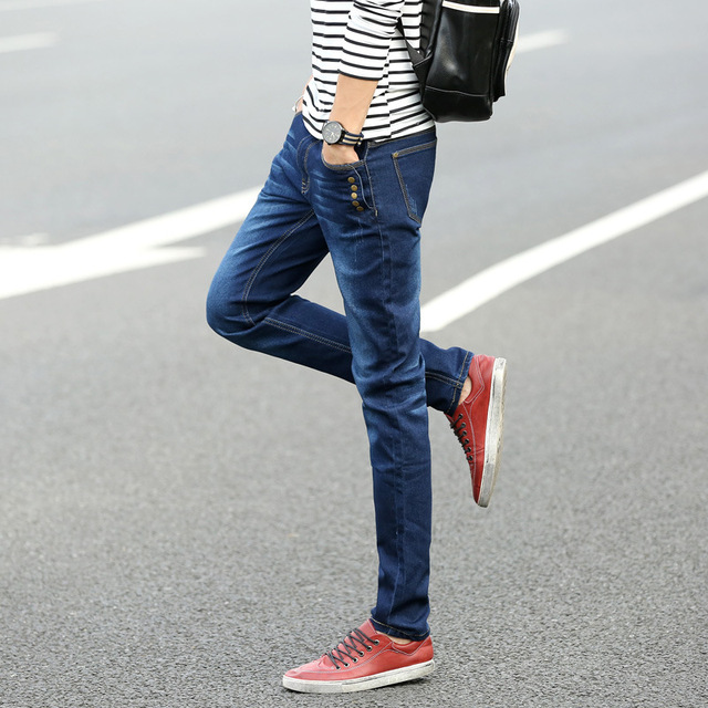 Spring 2016 jeans men's business cotton stretch denim trousers models big yards straight jeans male