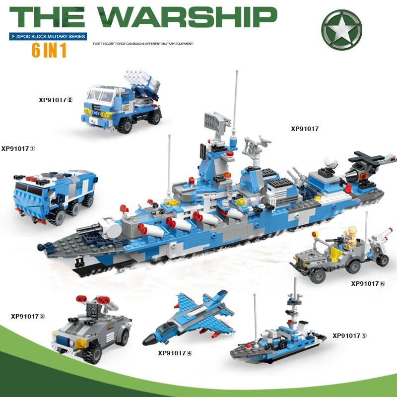 1233pcs 6 in 1 Military Warship Battleship Patrol Car Rocket Gun Scout Car Armored Vehicle Compatible Brick Building Blocks Toy armored car mkii mat 19 34 1 72 fabbri
