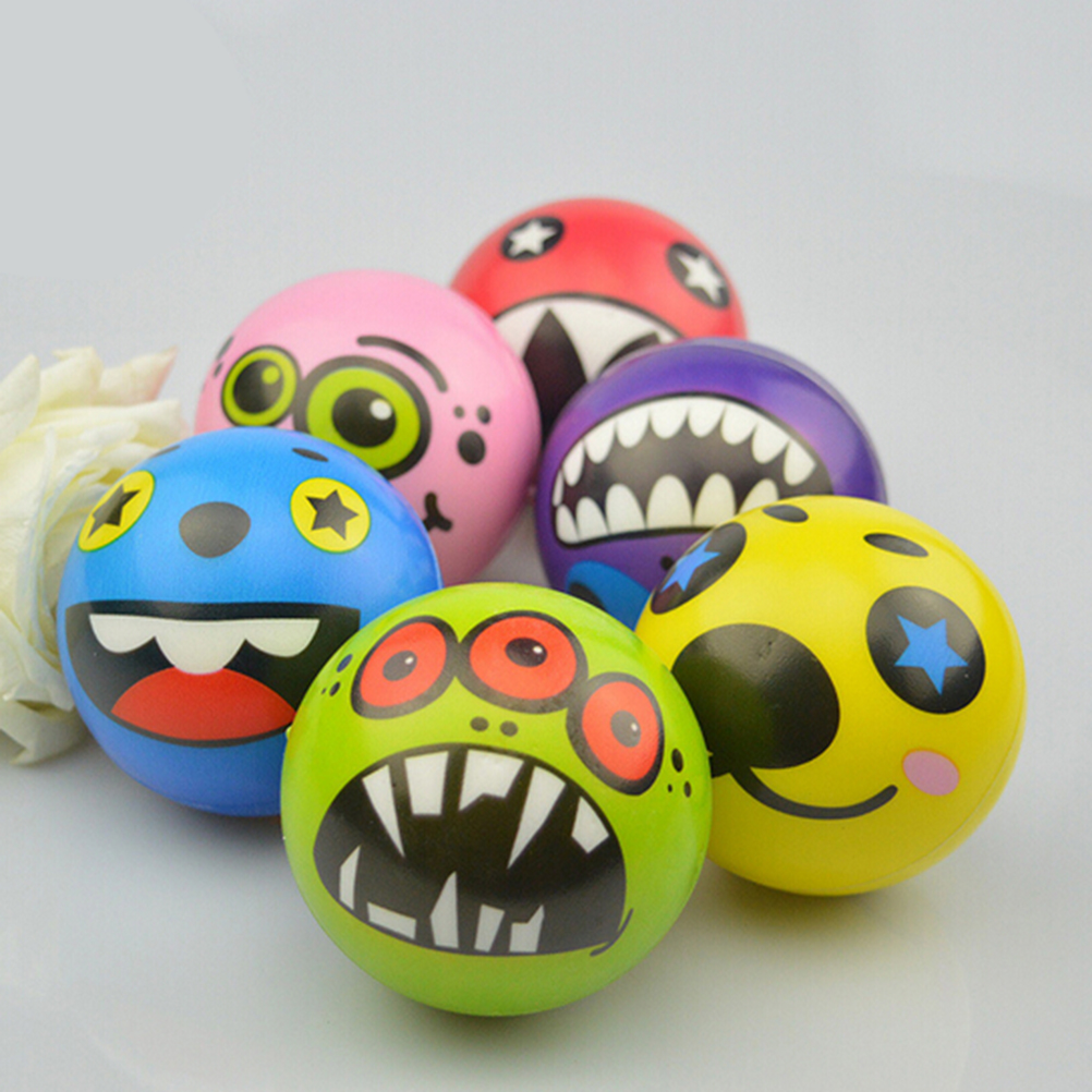 1PCS 6.3cm Exercise PU Rubber Toy Balls Face Print Sponge Foam Ball Squeeze Stress Ball Relief Toy Hand Grips Muscle Training