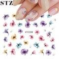 STZ 1 PCS Hot Designs 3d Colors Purple Beautiful Flower Sticker Nail Art Sticker Nail Foils for DIY Manicure Decorations E308