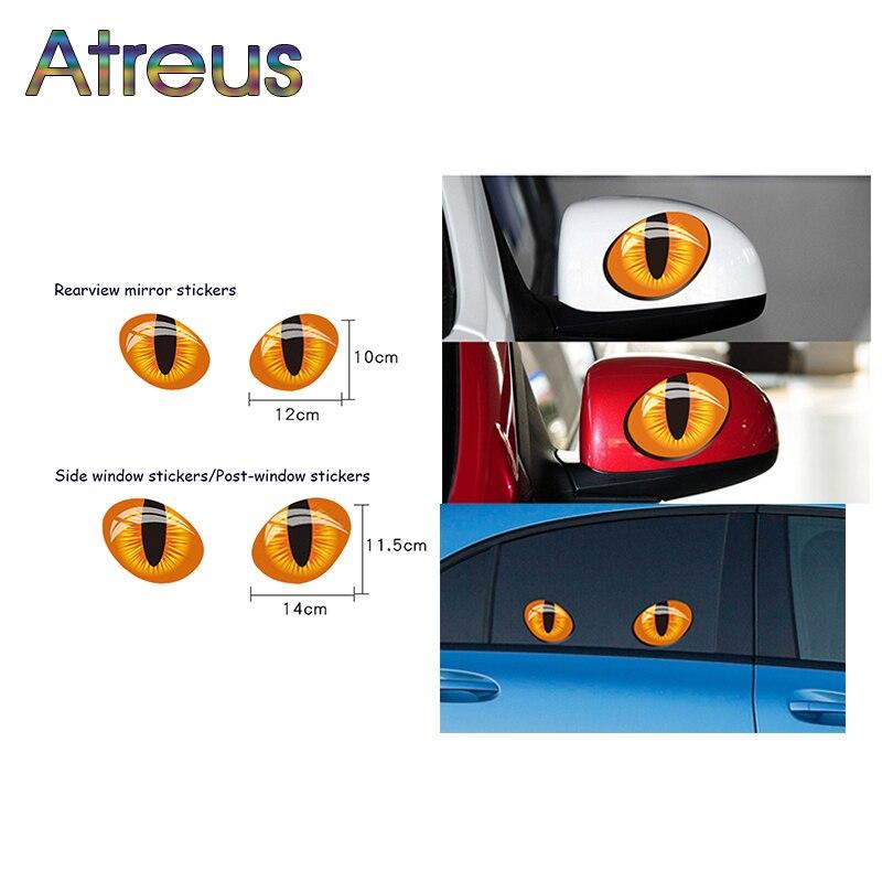 Atreus 3D Cat Eyes Car Stickers Truck Head Rearview Mirror Window stickers for Nissan Juke X-trail Qashqai Opel Astra J Kia RIO