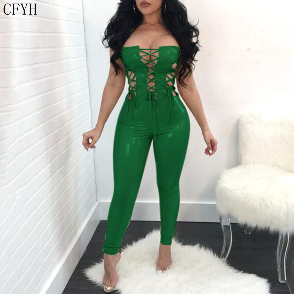 CFYH New Fashion off shoulder PU leather lace up jumpsuit women 2018 bodycon sexy backless sexy skinny long jumpsuits