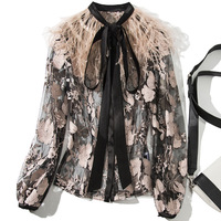Mesh embroidery feathers patchwork long sleeve blouse 2019 new women sprint single breasted shirts