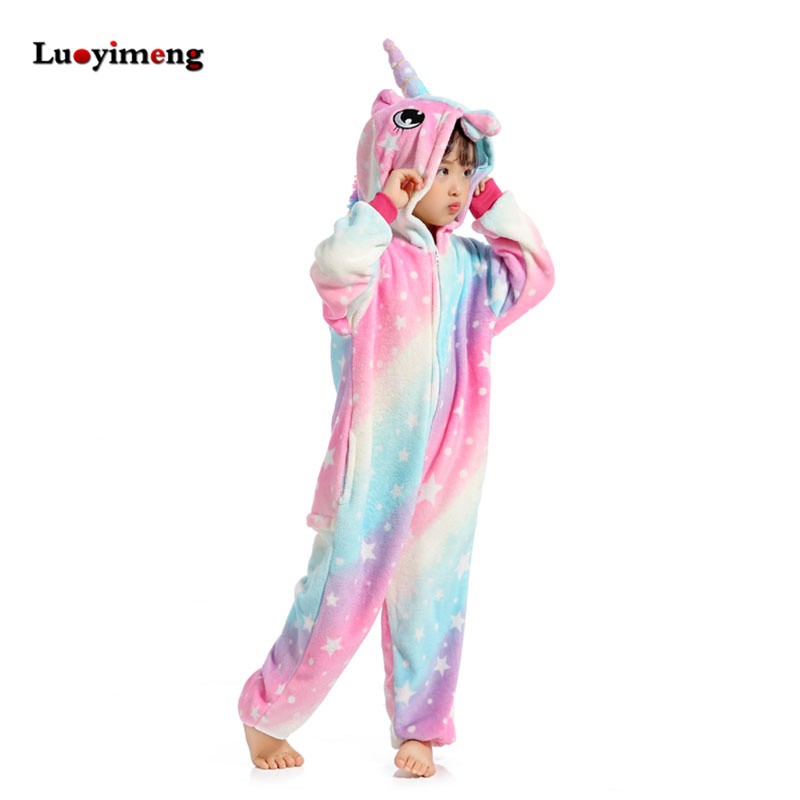 Onesies Kids Unicorn Pajamas Cartoon Licorne Sleepers Baby Girl Clothes Jumpsuit Children Flannel Anime Pyjama Blanket Kigurumi