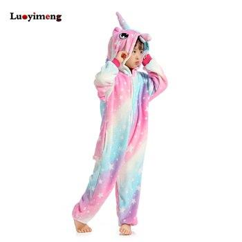 3da3b9288 Onesies niños unicornio pijamas dibujos animados Licorne Sleepers bebé niña  ropa mono niños franela Anime pijama manta Kigurumi