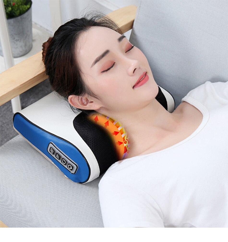 Infravermelho Massagem Aquecimento Travesseiro Pescoço Rolo Massageador