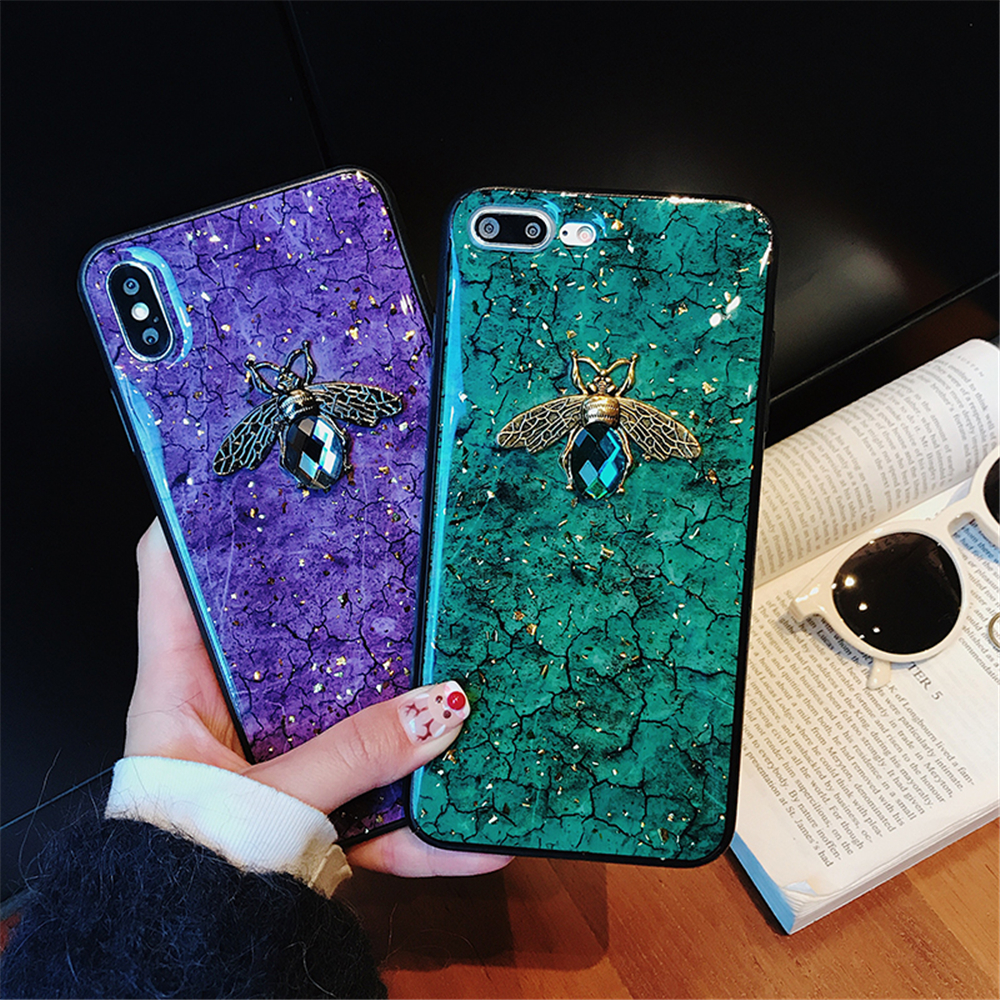 new style b1c37 0a127 US $3.04 20% OFF|Luxury Green Diamond Crack Marble Phone Case For iphone 7  8 6 6s Plus Bee With Wing Funda cover for iphone XS MAX XR X back-in Fitted  ...