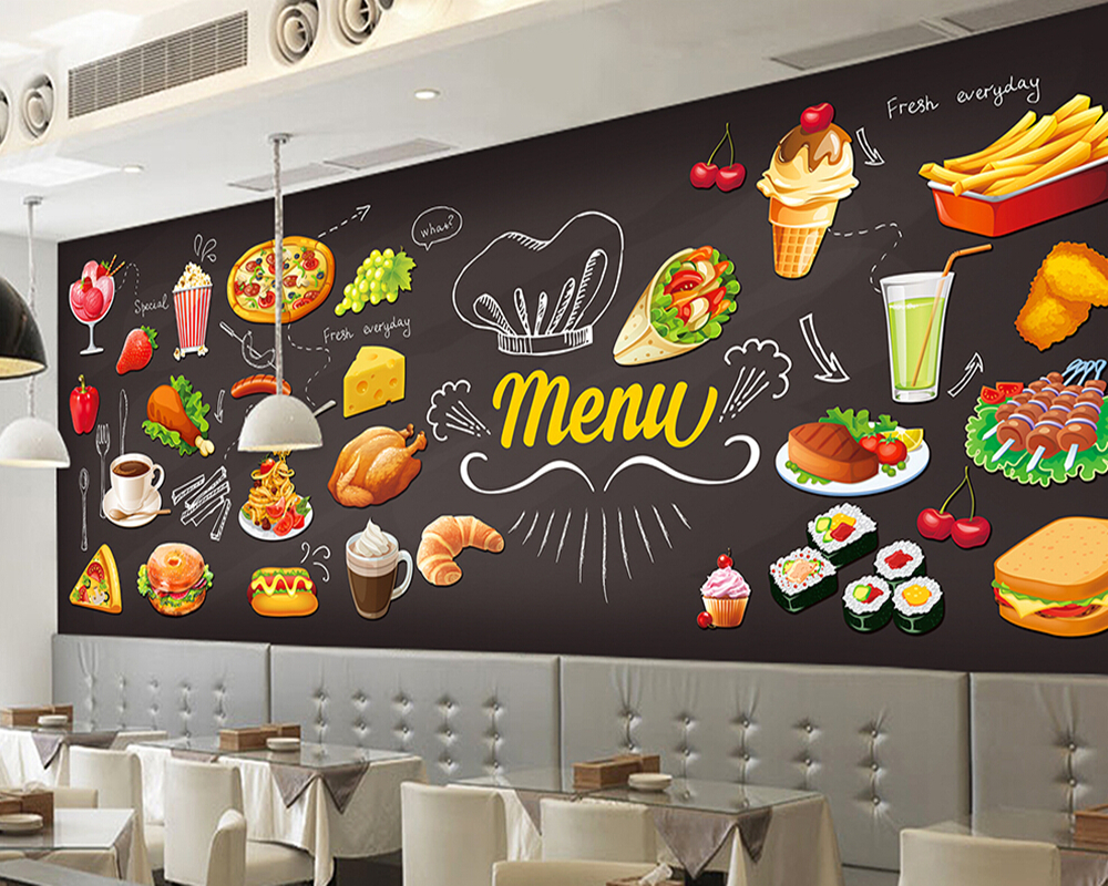 Custom retro papel de parede,Hand-painted Food,3D murals for the restaurant cafe hotel background wall PVC wallpaper custom wallpaper ceiling murals palm blue sky for the living room ceiling apartment hotel background wall vinyl papel de parede