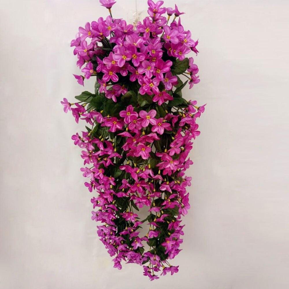 Шелковые ткани искусственные цветы цветок лоза вечерние украшения корзина для цветов Декор Европейский Свадебный декор домашний декор балкон - Цвет: purple