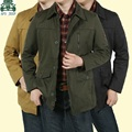 AFS JEEP New Arrival Mens Original Long Cotton Jacket,Gray Khaki Army Green casual Clothes,Spring Worker leisureJackets