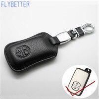 FLYBETTER Genuine Leather Từ Xa Control Key Chain Bìa Trường Hợp Đối Với Toyota Prado/Thái/Camry 2 Nút Thông Minh Key chủ L1738
