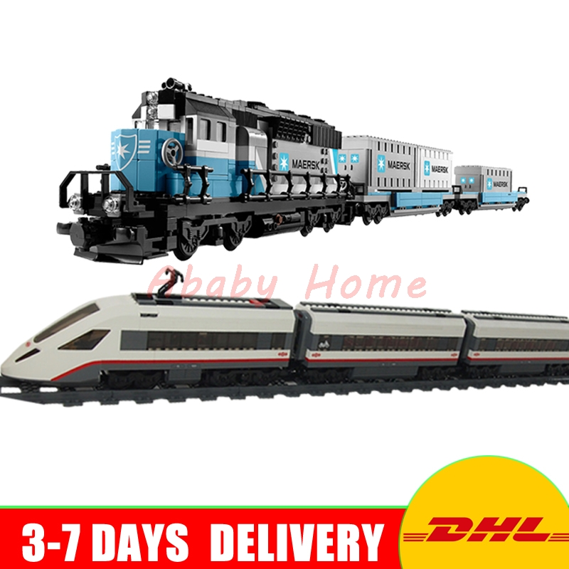 LEPIN 21006 The Maersk Train + 02010 High-speed Passenger Train Technic Series Model Building Kits Block Bricks 10219 60051 lepin 02010 610pcs city series building blocks rc high speed passenger train education bricks toys for children christmas gifts