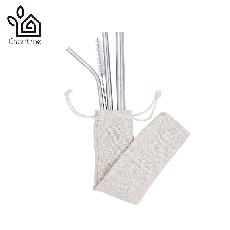 Comprar Barato Entertime Conjunto De 3 Piezas De Acero Inoxidable Pajitas + 1 Pc Cepillo Limpiador Con Bolsa Y No Plásticos De Embalaje