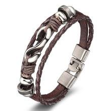 XiongHang Brand New Fashion Genuine Leather Hook Bracelets For Men Popular Knight Courage Bandage Charm Anchor Bracelets.