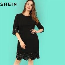 da63c09202 SHEIN Black O Neck High Waist Elegant Plus Size Pencil Dresses Women Autumn  Three Quarter Sleeve Knee Length Scallop Hem Dress