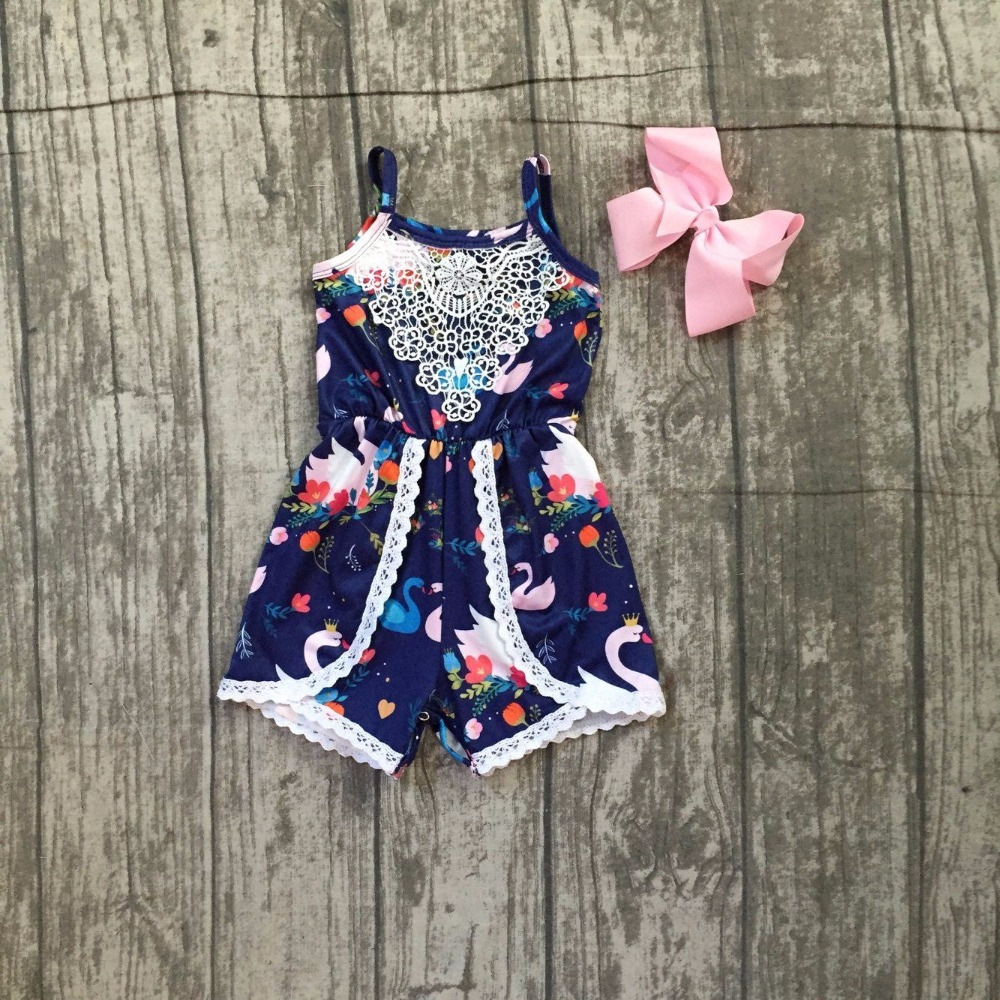 baby girls infant toddler swan romper baby girls summer milksilk clothes children girls White swan romper outfits with clipbows
