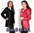 De boa qualidade mulheres jaqueta de inverno Parka jaquetas leves das mulheres 6xl tamanho encapuçado das senhoras ultra light branco jaqueta de pato para baixo