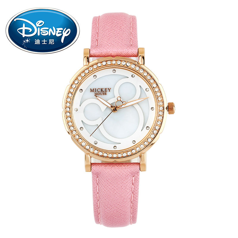Disney Kids Watch Women Watch Fashion Cute Wristwatches Girls Boys Mickey Mouse Gift Leather clock disney kids watch children watches princess elsa crown snow genuine brand fashion cute wristwatches leather strap gift clock