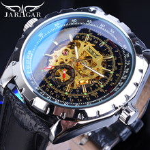 Jaragar Golden Skeleton Mens Watch Automatic Self-Wind Silver Bezel Mechanical Sport Leather Strap Wrist Relogio Male Clock Saat все цены