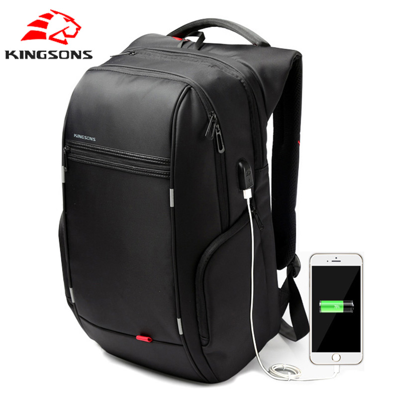 Kingsons Men backpack schoolbags 15 17 Laptop Backpack External USB Charge Women Backpacks for girls travel