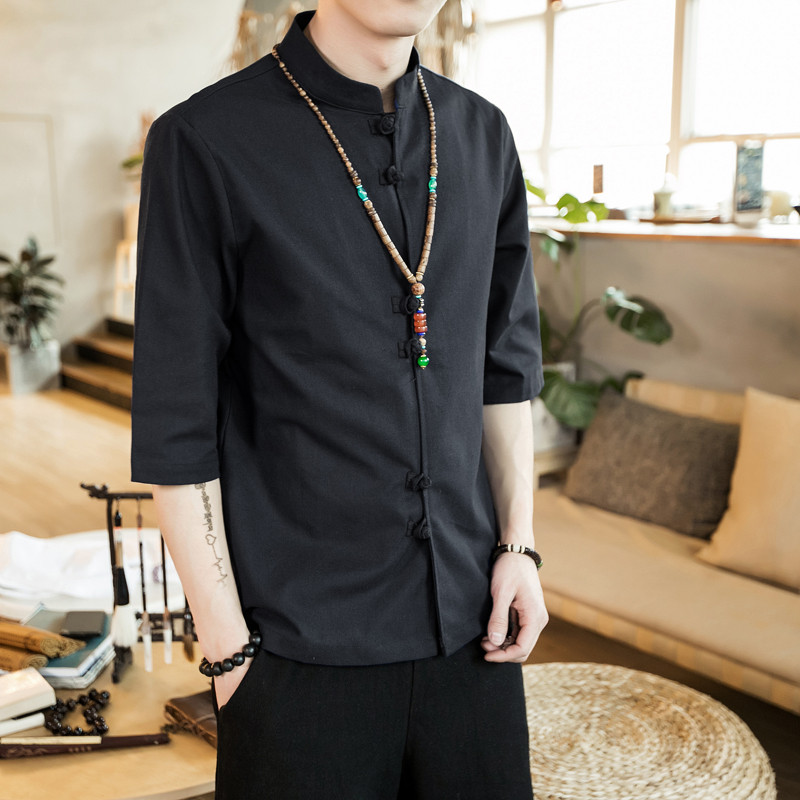 Chinese style summer fashion man's Pure color linen Short sleeve shirt high-grade male comfortable slim fit leisure shirt M-5XL 35