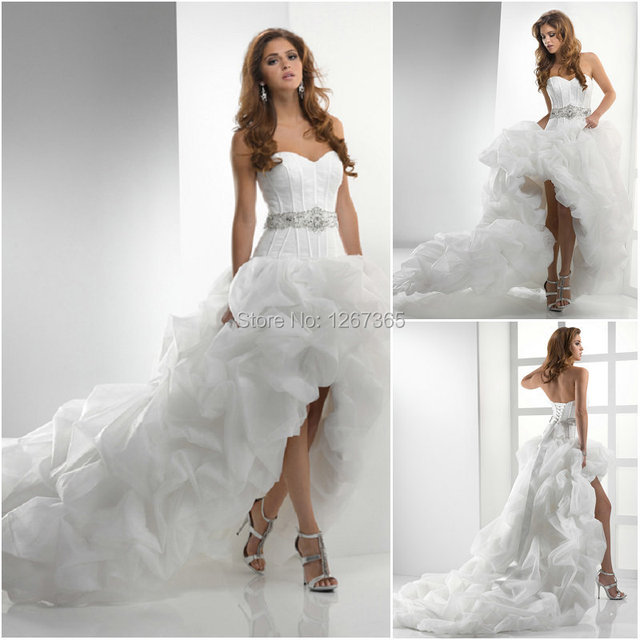 Catherine Sweetheart High Low Wedding Dresses With Chapel Train Ruffles Hi Lo Short Bridal Gowns