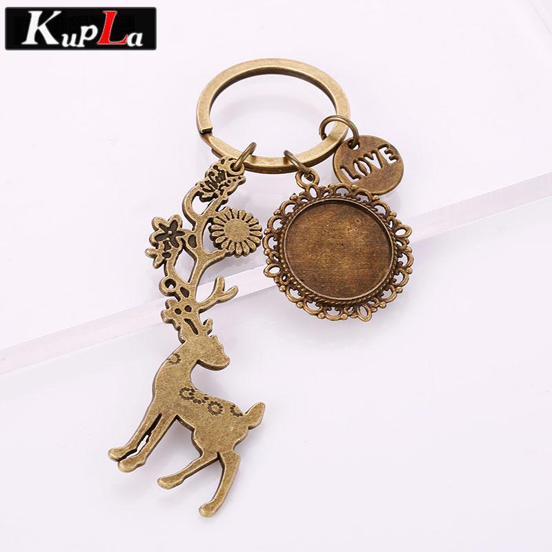 Vintage Wire Chain Jewelry Making Brass Chain Custom: Vintage Bronze Metal Love Christmas Deer Key Chains 20mm