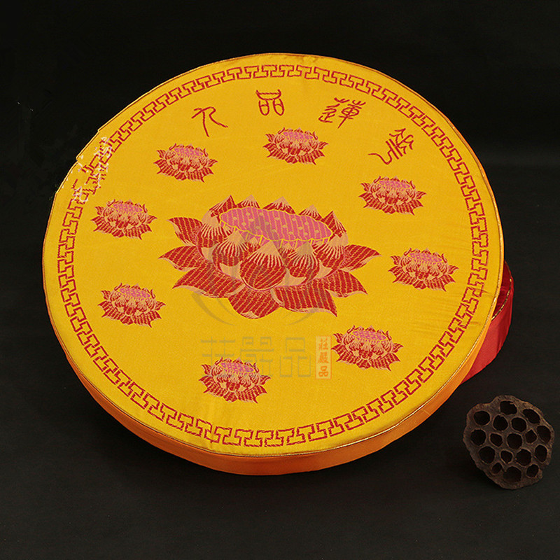 Handmade High Grade Yellow Red Brocade Self figure Mat Embroidery Lotus Buddhist Temple Meditation Mat Kneel Mat Kowtow Futon