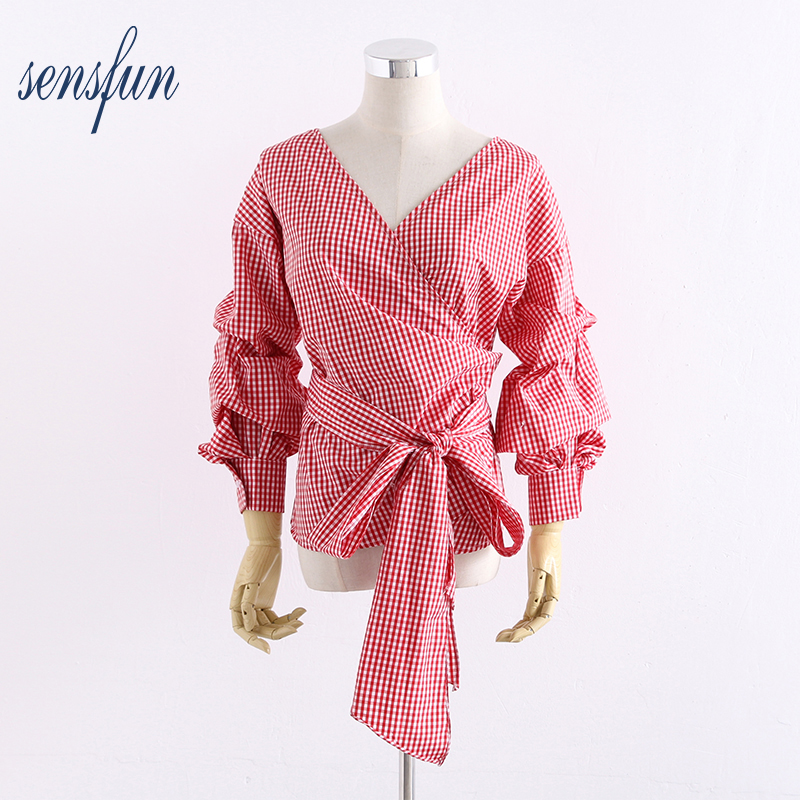 Sensfun Sexy V neck Women Blouses P Shirts Women Casual Tops Long Sleeve Ladies Shirt Tops Clothing Blusas With Bow-knot