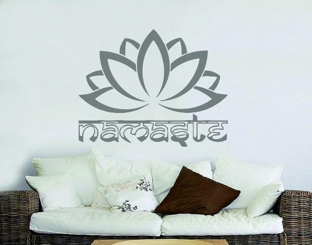 Namaste Lotus Religious Quotes Buddha Wall Sticker Home Living Room Decor  Sticker Vinyl Bedroom Sticker Decal