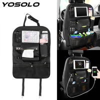 Pockets With USB Charger Drink Tissue Phone Pad Holder Car Seat Back Storage Bag Trunk Organizer Car Accessories Stowing Tidying