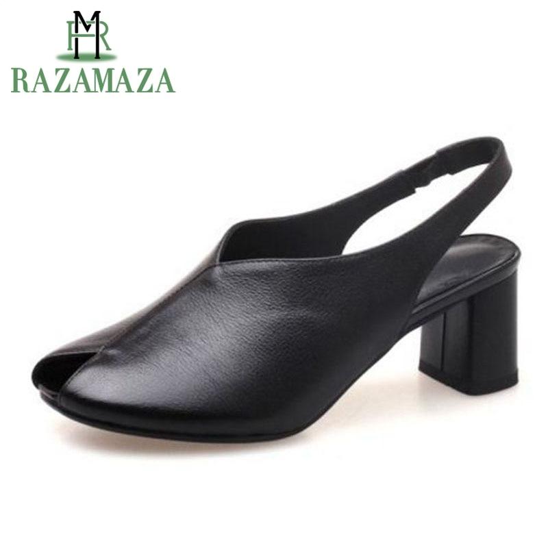 Mode Schnalle 34 Peep grün Sandalen Schwarzes 39 Frauen Leder Razamaza Echtem Schuhe Größe Sommer Zwei Toe Platz Heels Aus stück qwfXaPfx7
