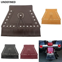 цена на Black Fringed Motorcycle Fender Flap Double Leather Front Mud Flap For Harley Touring Street Glide Softail Heritage Universal
