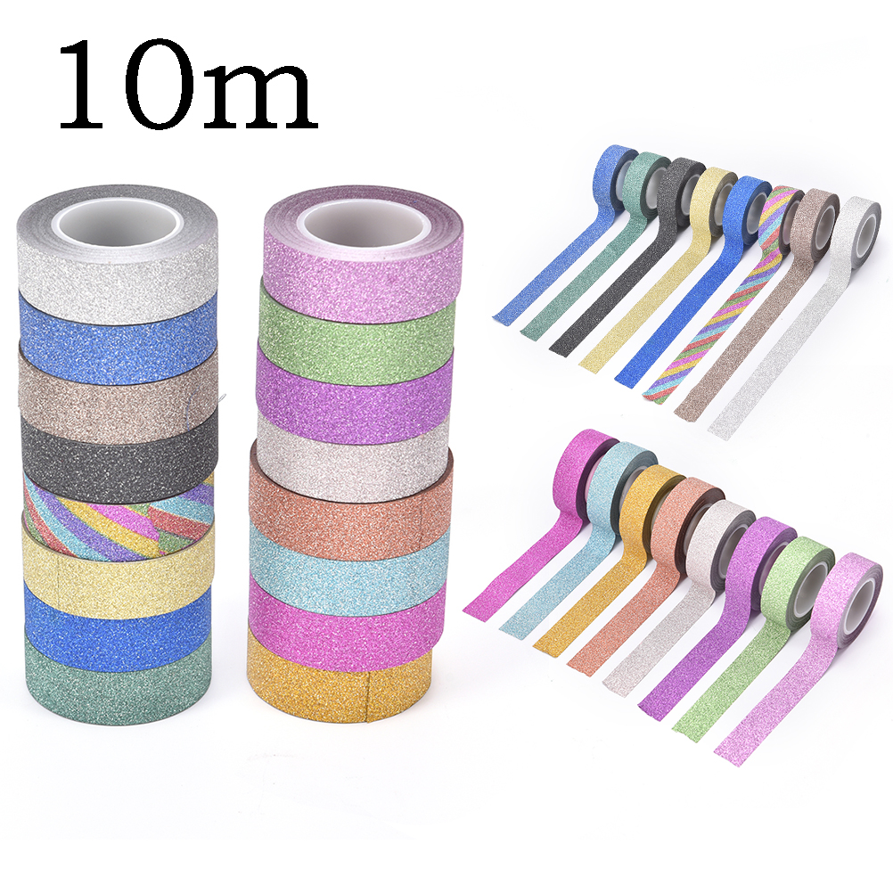 16 Colors Hot Sales 10m Glitter Washi Sticky Paper Masking Adhesive Tape Label Craft Decorative Diy  Office Adhesive Tape
