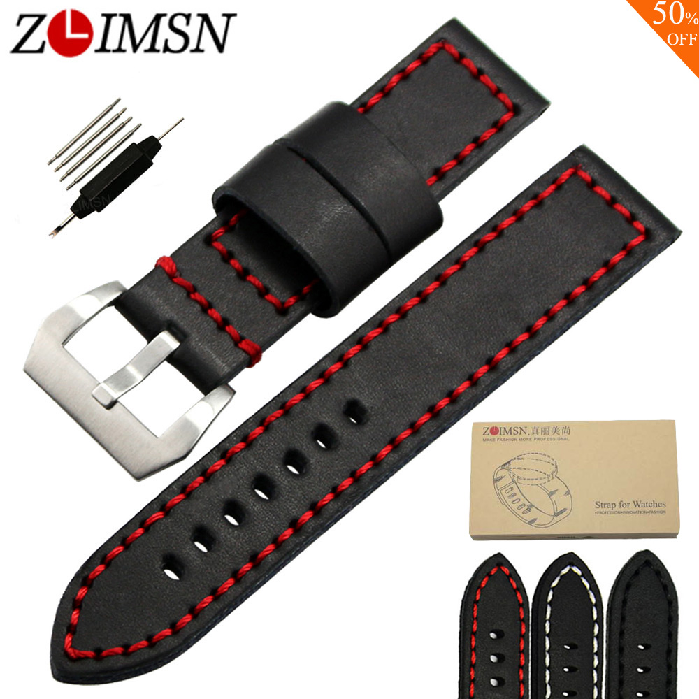 ZLIMSN Sport Genuine Leather Watch Straps Replacement 20 22 24mm Watchband Red Stitched Silver Brushed Stainless Steel Buckle