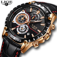 2018 Mens Watch LIGE Brand Luxury Leather Business Watch Date Chronograph Men Quartz watch Male Gifts Clock Relogio Masculino