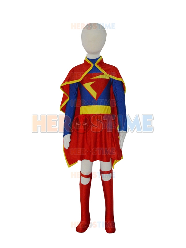 Free Shipping 2015 New Custom Made Kids Supergirl Costume  DC Comics Lycra Spandex Superhero Suit with Cape