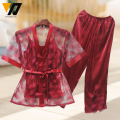 Women Sexy Erotic Lingerie Lace Pajamas Sets 3 PCS Hot Selling Plus Size Sleepwear Summer Style Red Color L,XL