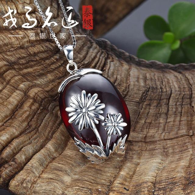 Thai silver pendant S925 sterling silver jewelry Garnet Pendant Pendant Necklace Handmade sun flower gift wholesale