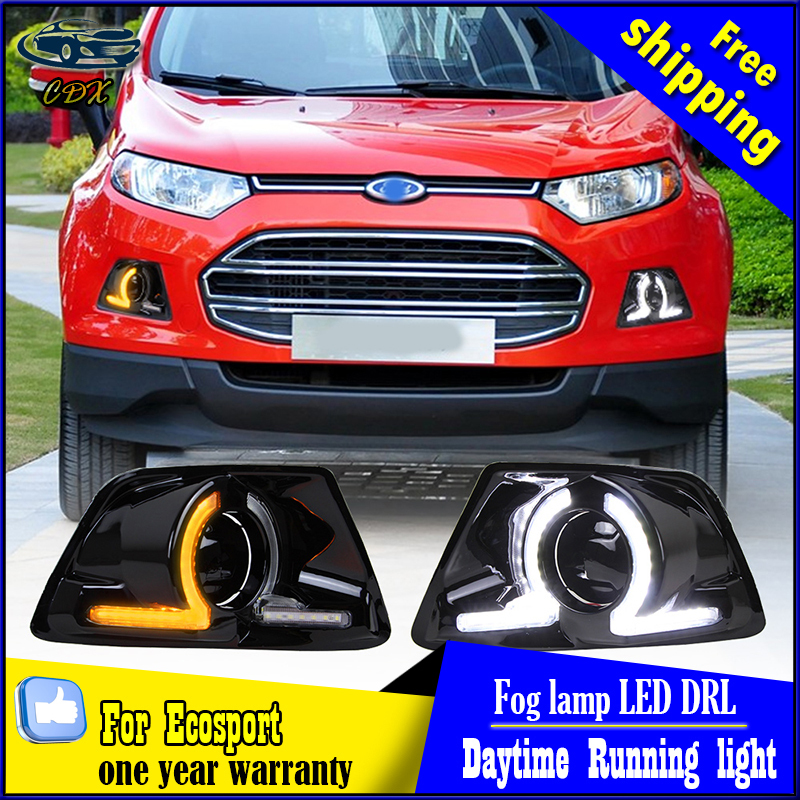 Car styling LED Daytime Running Lights for Ecosport 2013-2014 With Yellow Turn Signal Light LED Fog Lamp cover car Accessories