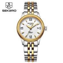 Nouvelle mini sekaro montres femmes en acier inoxydable automatique mécanique montres dames marque de mode montre-bracelet étanche calendrier