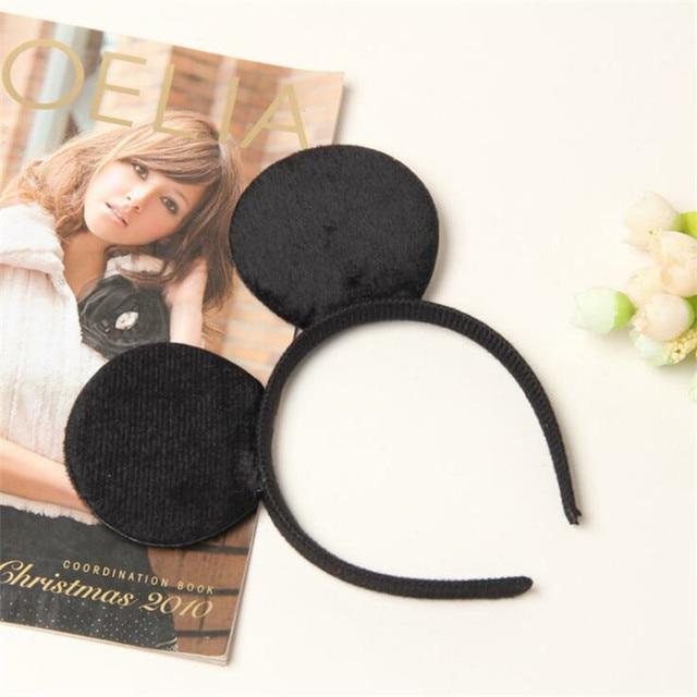 1 pcs Accessori Per Capelli Mickey Minnie Mouse Orecchie Solido Nero e Dell'arco