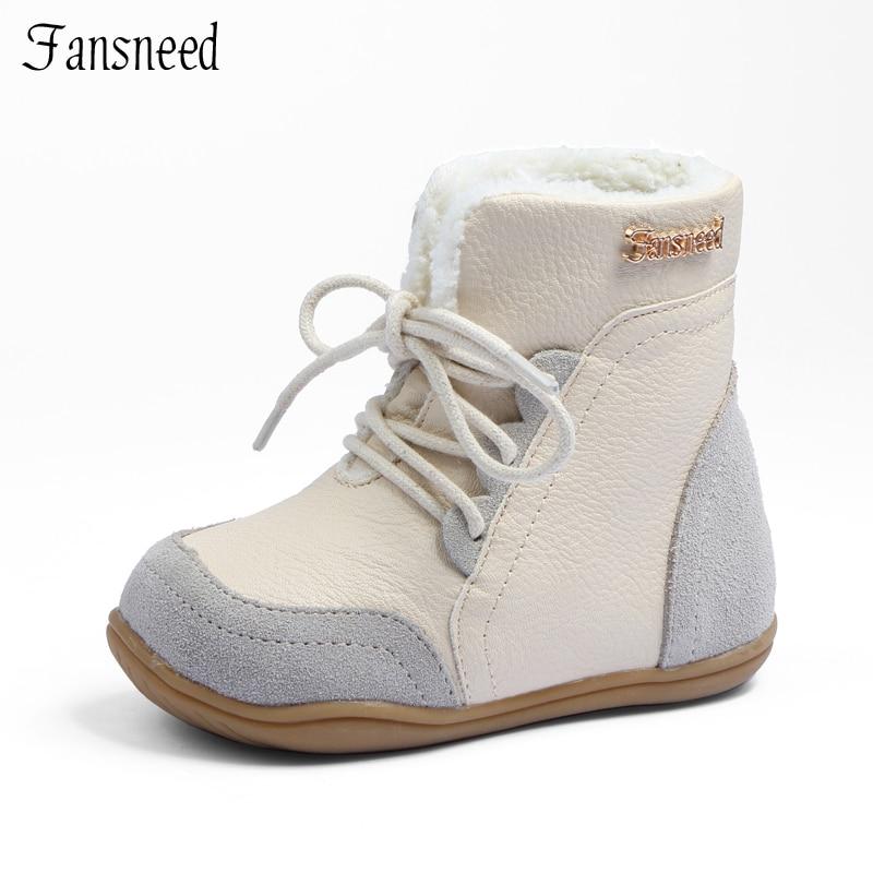 Cuero genuino niño femenino antideslizantes nieve botas masculinas mediano de la pierna de algodón acolchado zapatos bebé suela suave