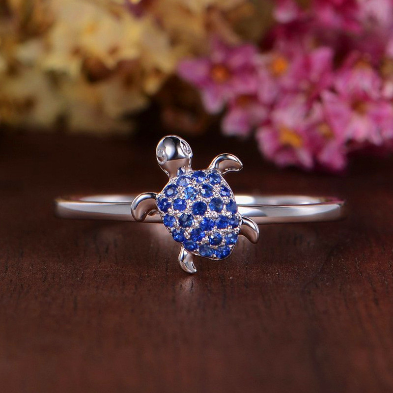 Engagement Rings Small Blue Promise Female Silver-Color Women Love Cute for Boho Unique-Style