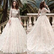 Vestido de Noiva A-Line Vintage Wedding Dress Lace Appliques Robe de Mariage Bead Belt Vestidos Vestidos de Novia Casamento