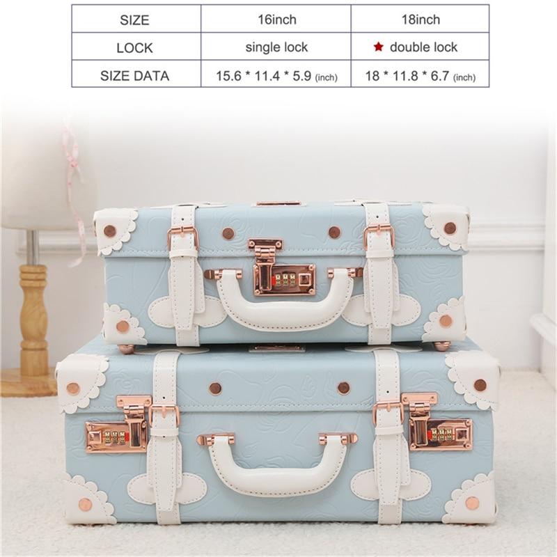 Barato Mini pequeña maleta de maquillaje bolso de cuero Pu niños lindos bolsos de viaje para niños equipaje de venta caja de belleza maleta Retro venta - 4