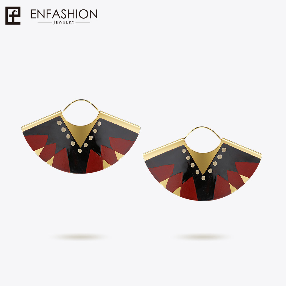 Enfashion Lacquer Art Series Glory Silk Drop Earrings Fan Shape Big Gold color Earrings for Women Earings oorbellen EBQ18LA47