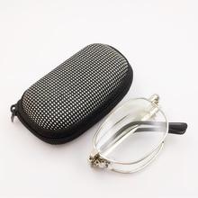 Gafas de lectura plegables portátiles, marco de Metal Oval, gafas de aumento presbiopic, gafas con caja de Anteojos