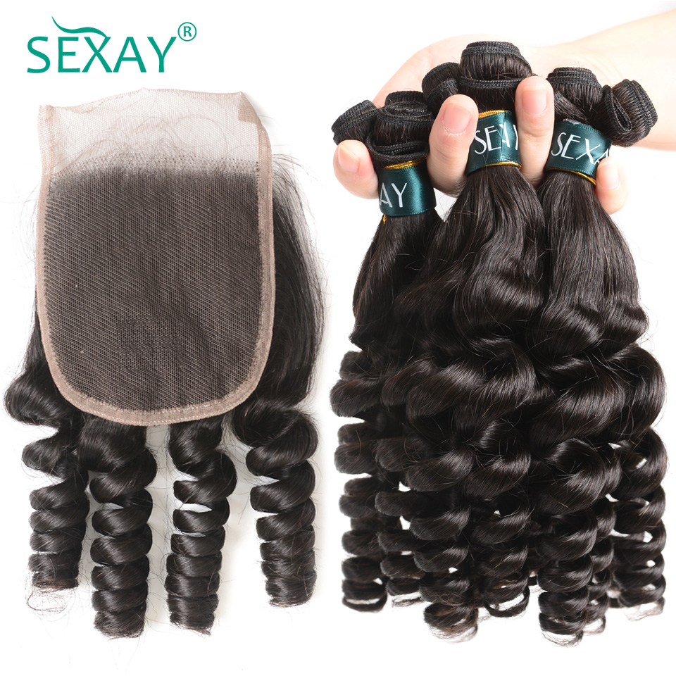 Sexay Funmi Curly Human Hair 3 Bundles With Closure Brazilian Remy Hair Weave With 4x4 Lace Closure Pre-colored 100% Human Hair