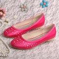 Wedopus Ярко-Розовый Квартиры Размер 5 Балерина Хрустальные Туфли Невесты Закрыты Носок Dropshipping